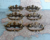SALE! 6 vintage scalloped brass metal pull handles*
