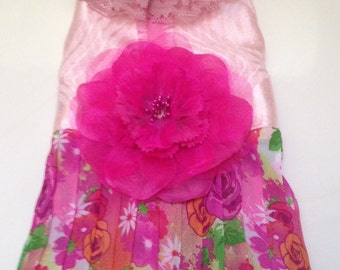 XS  Floral Harness Dress  Chihuahua Yorkie Maltese Small Dog Puppy