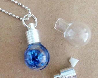 10 DIY Kit Light Bulb Glass Globes Flask Vials Pendants Necklace 23mm Rice Jewelry Mini MIniature Bottles Kawaii