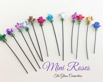 2 Mini Beaded Handmade Metal Roses Miniature Flowers 20mm to fill Glass Vials Bottle Fillers Keepsake Anniversary Wedding Red Pink Blue