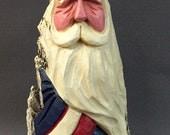 HAND CARVED original Patriotic Santa from 100 year old Cottonwood Bark.