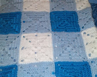 Gingham Crochet Baby Blanket and Matching Cap