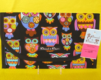 Retro Owls Diaper and Wipe Case Holder Clutch