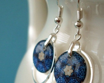 CIJ SALE kaleidoscope hoop earrings, resin earrings,  forget me not earrings, gifts under 20
