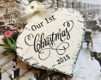 Our 1st CHRISTMAS ORNAMENT, Mr. and Mrs. Christmas Ornament, Vintage Ornament, Shabby Chic Style Ornament, 4 3/4 x 4