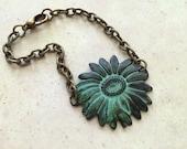 Sunflower Bracelet, Woodland Bracelet, Botanical Jewelry, Nature Inspired, Floral, Flower, Antique Brass, Verdigris Green, Chain Bracelet