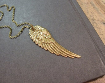 Wing Necklace, Angel Wing, Feathers, Layering Necklace, Long Necklace, Brass Wing, Antique Brass, Boho Necklace, Rocker Jewelry, Bohemian
