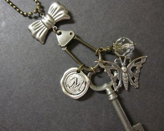 OOAK Butterfly Necklace Skeleton Key Charm Necklace Personalized Wax Seal Initial Vintage Key Boho Chic Silver Bow Unique Necklace