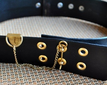 Vintage Faux Leather Chain/Key/Toggle Belt - Black with Goldtone Chain - Vegan Belt