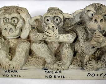 Vintage Hear Speak Say No Evil Monkeys -  American Greetings 1970s