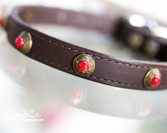Brown Leather Dog Collar With Red Turquoise Conchos, Brown Leather Collar, Small Leather Dog Collar,  Red Turquoise Conchos on Brown Leather