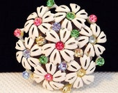 Vintage White Metal Enamel Daisy Flower Brooch Pin with Pastel Rhinestones 2.5 inches