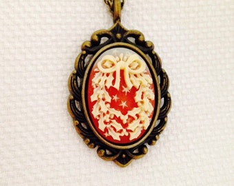 Distressed Brass Christmas Wreath Necklace, Red and Cream Cameo Pendant 16 or 18 inch Chain