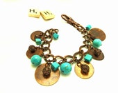 Bohemian Upcycled Metal Disc And Howlite Bracelet