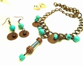 Bohemian Upcycled Metal Disc And Howlite Necklace And Earring Set