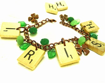 Irish Upcycled Scrabble Tile Charm Bracelet