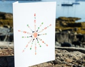 Seashell Snowflake Notecards - package of 5 - shell art, sea glass, seashells, shark teeth, pink, green