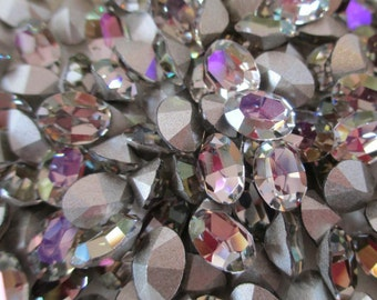 12pc Starlight Coated 8x6mm Oval New Swarovski Starlight Ovals With Silver Foiling Starlight 8x6mm