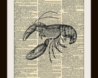 Lobster Art Print on GOLD GILDED Vintage Dictionary Page 8x10