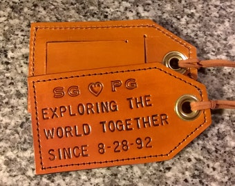 3rd Anniversary - His and Hers - Exploring the world together since... - Leather Luggage Tags - Set of Two