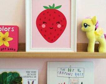Nursery Art, Strawberry Nursery Wall Art, Pink Nursery Art, Girl's Room Art Print, Kawaii Strawberry, Baby Girl Nursery Art, Nursery Prints