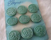 VINTAGE Set of 9 Teal Green Fan Texture Glass BUTTONS
