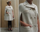 Vintage 60's/70's Double-breasted Cream White Wool Tweed Cape by Pom Pom | XS Small Medium Large XL