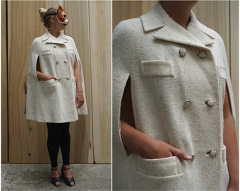 Vintage 60's/70's Double-breasted Cream White Wool Tweed Cape by Pom Pom   XS Small Medium Large XL