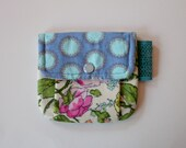 Snap Card Wallet Business Card Holder Pleated Pouch Amy Butler Roses Blue Lace Tab