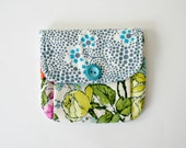 Little Wallet Pleated Pouch Coin Purse Organic Cotton Blue Forget Me Knots Button