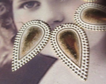 Gold Plated Frosted White Patina Brass Tear Drop Ornamental Stampings  253WHT x2