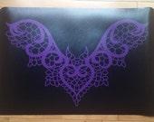Purple  Lace Bat Gothic Polyvinyl Floor/Door Mat