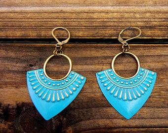 Daggers, Western Cowgirl Southwestern Boho Teal Hand Painted Earrings- Dangle Earrings- Distressed Earrings- Antiqued Bronze & Teal Earrings