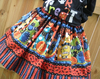 Ready to Ship Custom Boutique Halloween Twirl Skirt Girl 3 or 4 or  5 or  6 or 7 or  8  it's   16 inches long  RTS