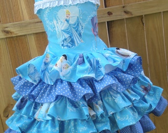 Made to Order Custom Boutique Cinderella Disney Blue Ruffle  Dress Girl   Size 2 3 4 5 6 7 8