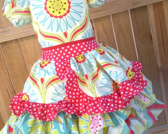 Ready to Ship Custom Pop Garden Girl Ruffled  Dress Will Fit Sizes 4 or 5 or Slim Size 6