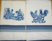 Machine Embroidery Delft Blue Barnyard Scene Kitchen Towels