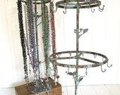 Pre Holiday Stock Up Sale 2 layer tall french rustic bird jewelry stand with 21 hooks - distressed vintaged green