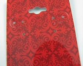 25 Pack red damask design Hole Top Large 2x2.5 Inch Cardstock Hanging Earring Cards