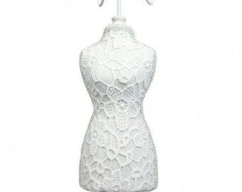 One White Lace Cover Fabric Covered Table top Mannequin 15.5 Inches Tall Jewelry Display