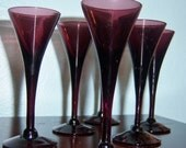 Set of 6 Cambridge Amethyst Depression Glass Stemmed Cordials Elegant Glassware Made in USA