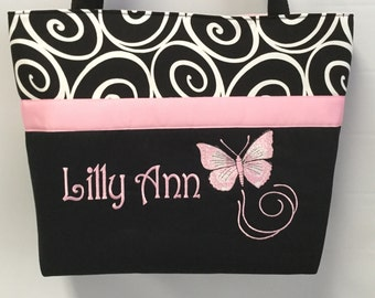 Pink  BUTTERFLY .. Diaper Bag Tote... Ebony Ironwork..... Personalized FREE