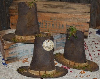 EPATTERN -- Primitive Pilgrim Hat Shelf Sitters Thanksgiving Tucks Ornies Bowl Fillers -- TWO STYLES