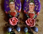 RESERVED - Lilygrace Frida Kahlo Cameo Earrings in Purple, Scarlet, Pink and Green with Hearts and Vintage Rhinestones