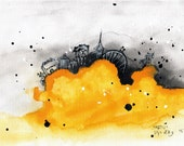Ink abstract painting on canvas A4 - bright yellow cloud city - tartu cityscape