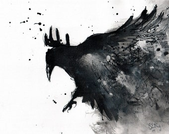 Raven Art - Ink drawing on canvas A4 (20x30cm) - Abstract flying bird painting - raven painting