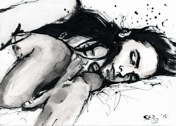 Ink drawing on canvas a4 cuddling couple black and white wall art