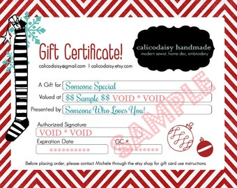 HoLiDaY GIFT CERTIFICATE SaLe - calicodaisy handmade - Choose Amount