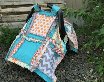 Car Seat Cover Pattern - Easy Peasy Rag Quilt Pattern- Baby Sewing Patterns- Easy Quilt Pattern- Carseat Canopy Pattern-  Kid Sewing Pattern