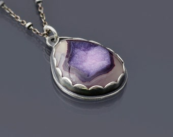 Purple Druzy Agate and Oxidized Sterling Silver Necklace, silver and stone necklace, purple and silver necklace